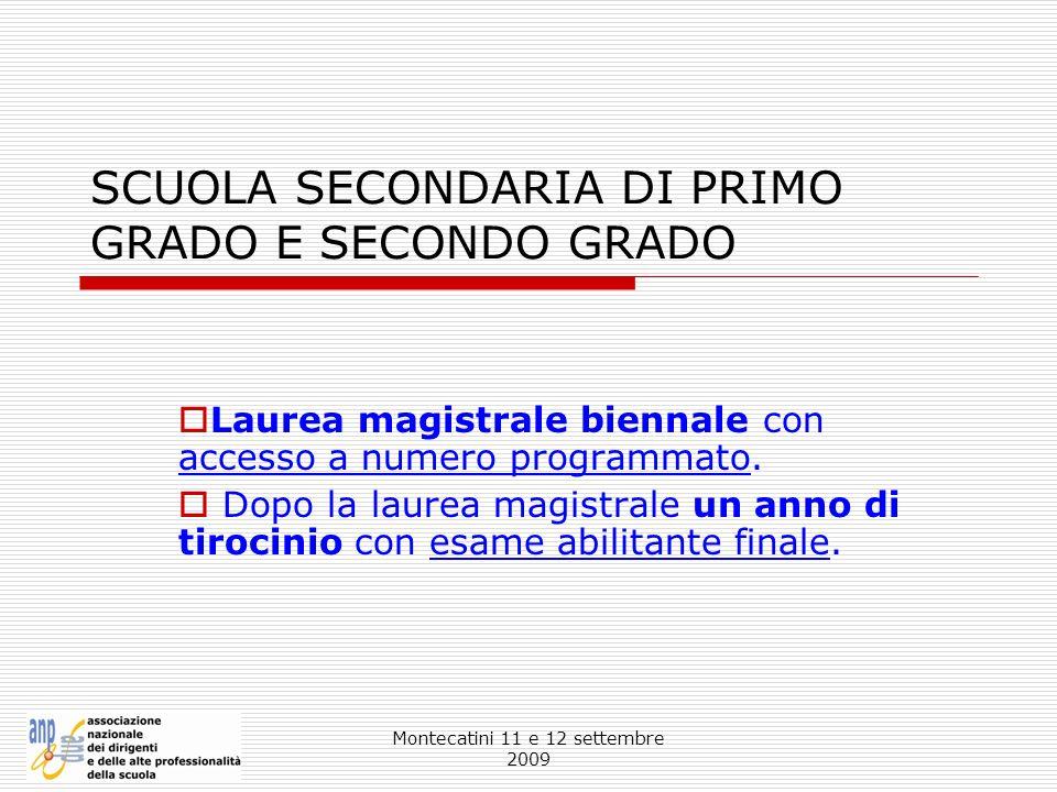 Montecatini 11 e 12 settembre 2009 SCUOLA SECONDARIA DI PRIMO GRADO E SECONDO GRADO Laurea magistrale biennale con accesso a numero programmato. Dopo