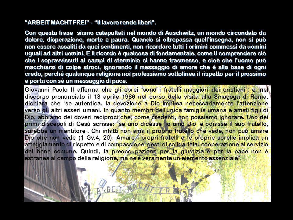 ARBEIT MACHT FREI - Il lavoro rende liberi. Con questa frase siamo catapultati nel mondo di Auschwitz, un mondo circondato da dolore, disperazione, mo