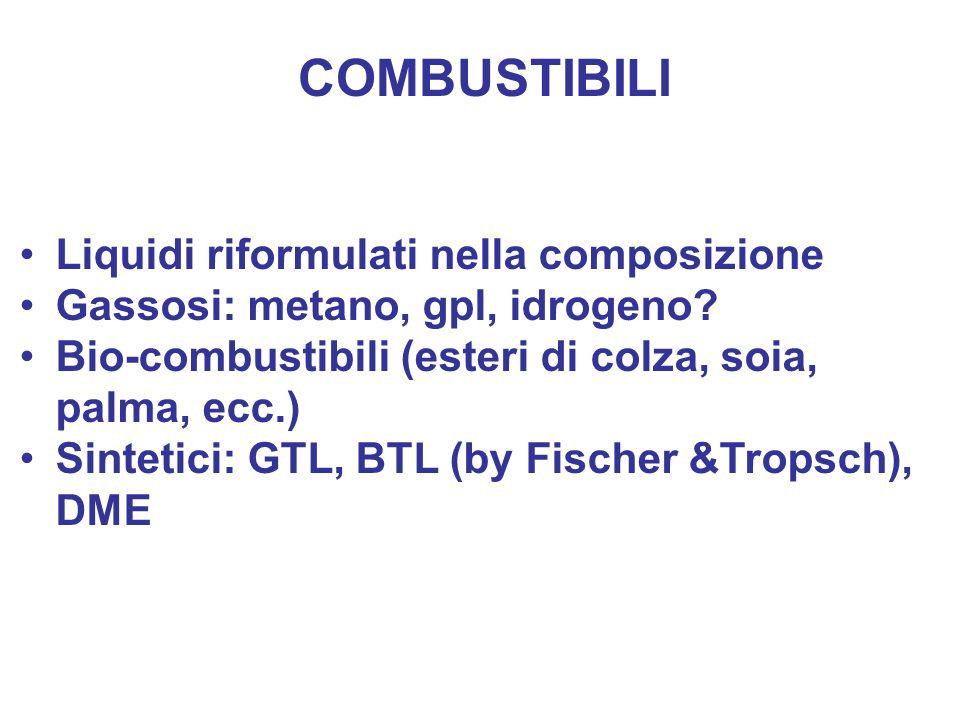 COMBUSTIBILI Liquidi riformulati nella composizione Gassosi: metano, gpl, idrogeno? Bio-combustibili (esteri di colza, soia, palma, ecc.) Sintetici: G