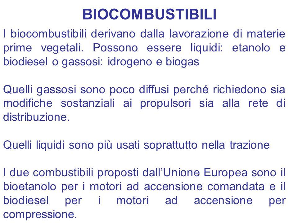 I biocombustibili derivano dalla lavorazione di materie prime vegetali. Possono essere liquidi: etanolo e biodiesel o gassosi: idrogeno e biogas Quell