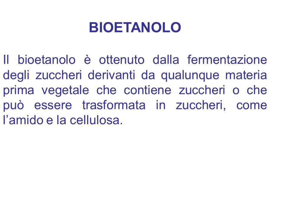 Il bioetanolo è ottenuto dalla fermentazione degli zuccheri derivanti da qualunque materia prima vegetale che contiene zuccheri o che può essere trasf