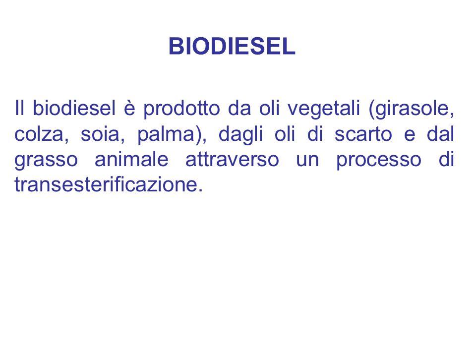 Il biodiesel è prodotto da oli vegetali (girasole, colza, soia, palma), dagli oli di scarto e dal grasso animale attraverso un processo di transesteri