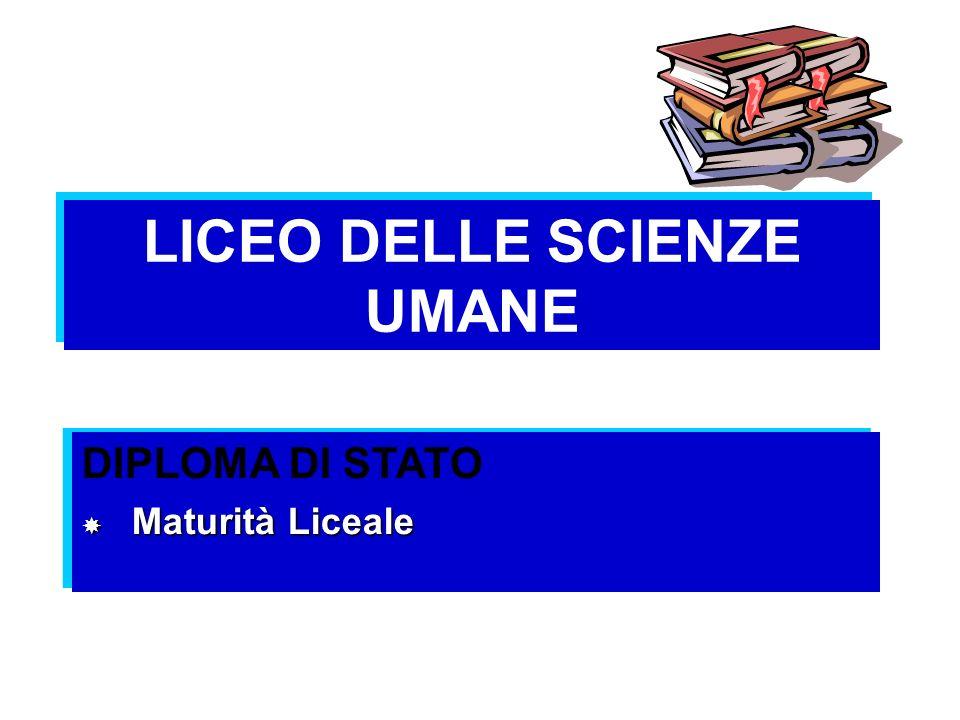 LICEO DELLE SCIENZE UMANE DIPLOMA DI STATO Maturità Liceale Maturità Liceale DIPLOMA DI STATO Maturità Liceale Maturità Liceale