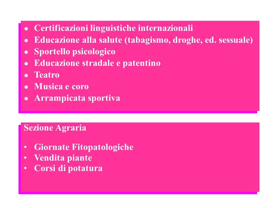 Sezione Agraria Giornate Fitopatologiche Vendita piante Corsi di potatura Sezione Agraria Giornate Fitopatologiche Vendita piante Corsi di potatura Ce