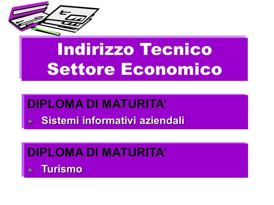Indirizzo Tecnico Settore Economico Indirizzo Tecnico Settore Economico DIPLOMA DI MATURITA Turismo Turismo DIPLOMA DI MATURITA Turismo Turismo DIPLOM