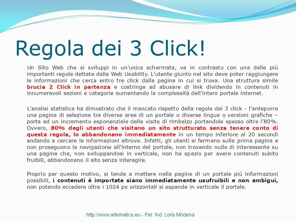 Regola dei 3 Click! Un Sito Web che si sviluppi in ununica schermata, va in contrasto con una delle più importanti regole dettate dalla Web Usability.