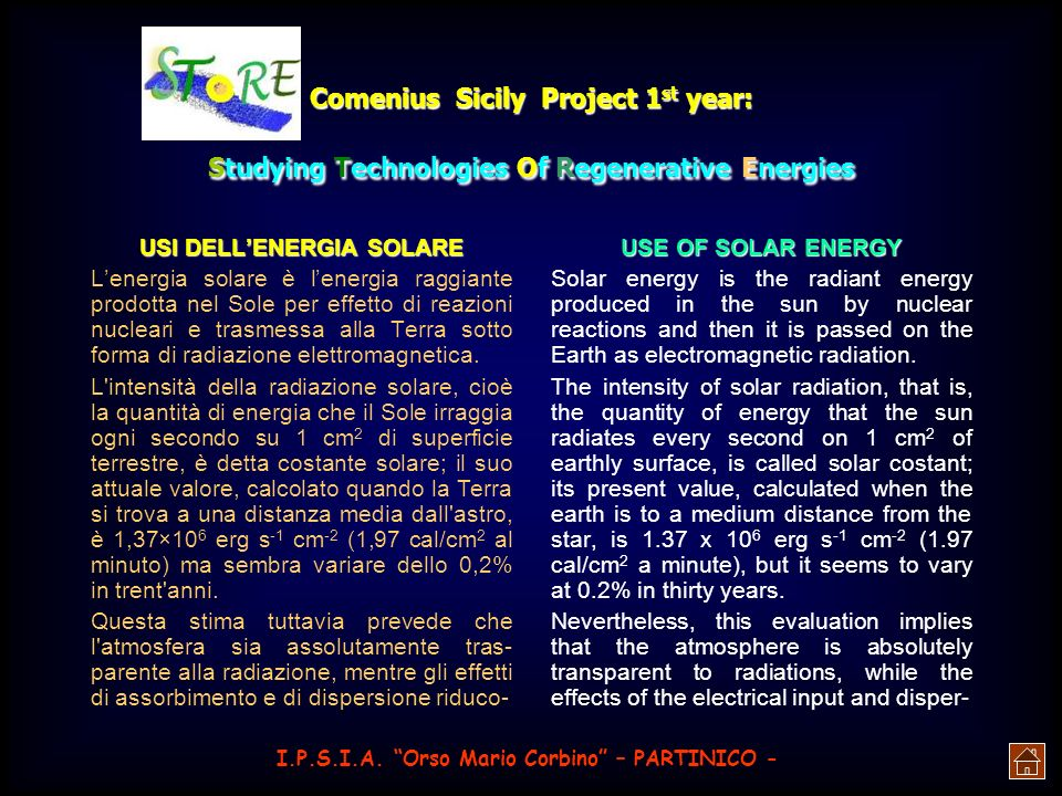 Comenius Sicily Project 1 st year: Studying Technologies Of Regenerative Energies Crystal silicon cells production 103 mm x 103 mm 125 mm x 125 mm Ø 1