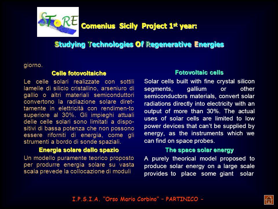 Comenius Sicily Project 1 st year: Studying Technologies Of Regenerative Energies ra, controlli automatici e sistemi di immagazzinamento del calore. I