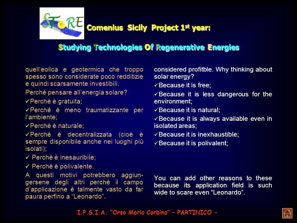 Comenius Sicily Project 1 st year: Studying Technologies Of Regenerative Energies I.P.S.I.A.
