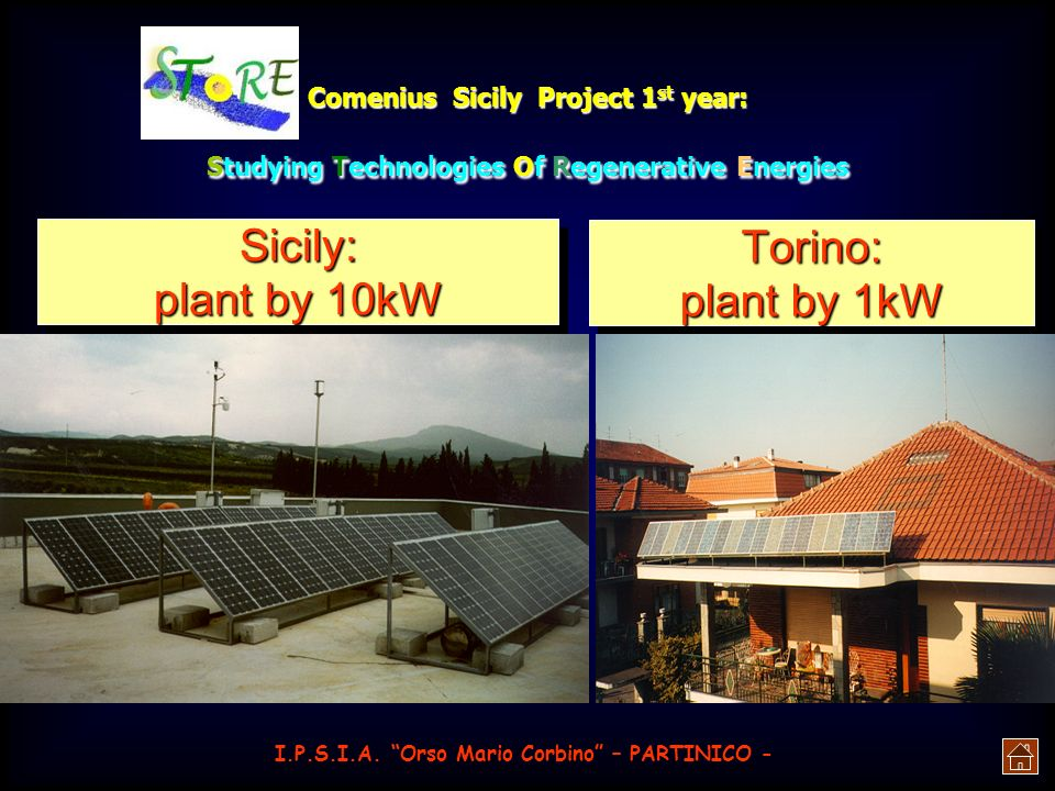 Comenius Sicily Project 1 st year: Studying Technologies Of Regenerative Energies Münich Fair: plant by 1MW I.P.S.I.A. Orso Mario Corbino – PARTINICO
