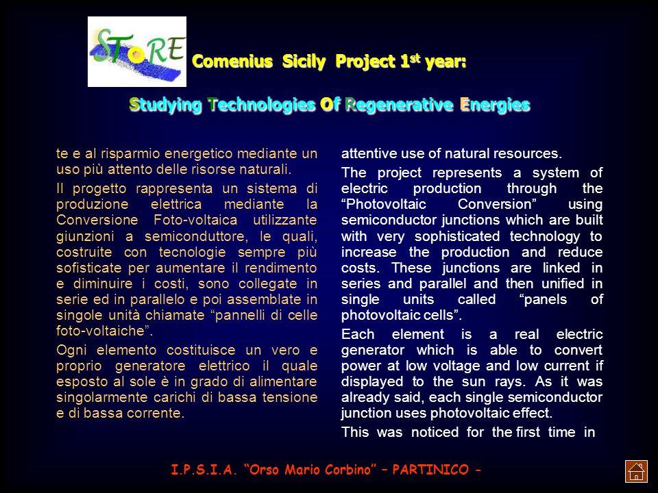 Comenius Sicily Project 1 st year: Studying Technologies Of Regenerative Energies Lenergia solare può, infatti, essere impiegata per: La conversione e
