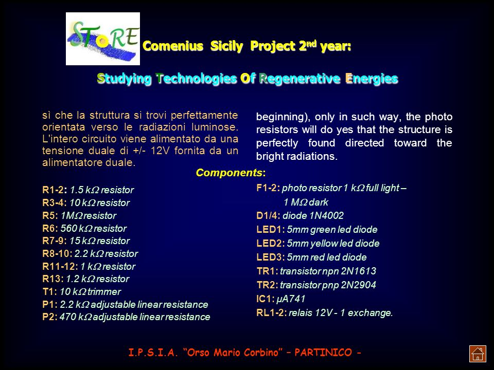 Comenius Sicily Project 2 nd year: Studying Technologies Of Regenerative Energies For this a denominated tool was born