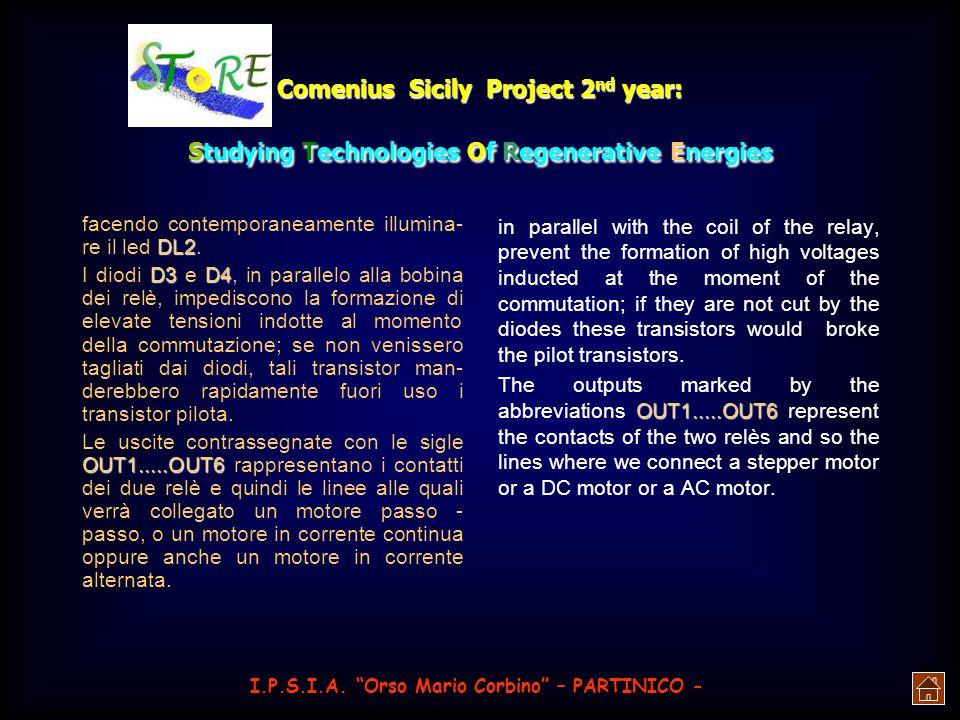Comenius Sicily Project 2 nd year: Studying Technologies Of Regenerative Energies R7,R8R9-10 i relè che controllano il motore, per cui è necessario ut
