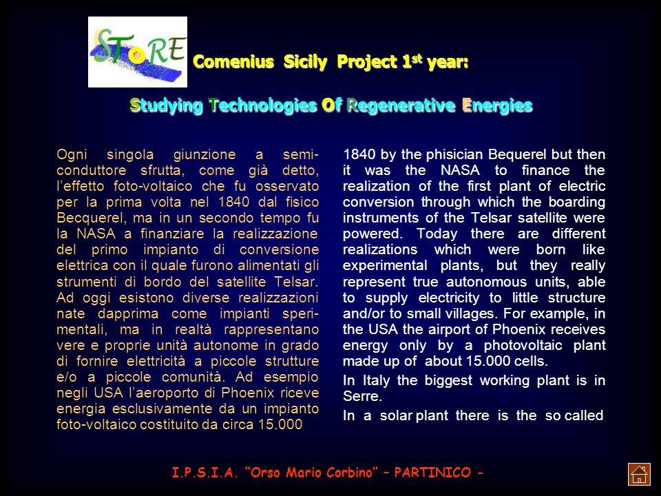 Comenius Sicily Project 1 st year: Studying Technologies Of Regenerative Energies te e al risparmio energetico mediante un uso più attento delle risor