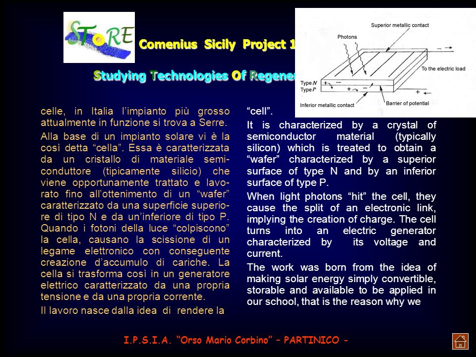 Comenius Sicily Project 2 nd year: Studying Technologies Of Regenerative Energies if these are linked together in series we have to use a bypass diode in parallels at every single panel.