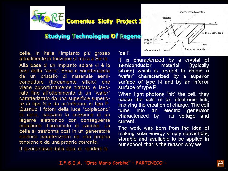Comenius Sicily Project 1 st year: Studying Technologies Of Regenerative Energies Ogni singola giunzione a semi- conduttore sfrutta, come già detto, l