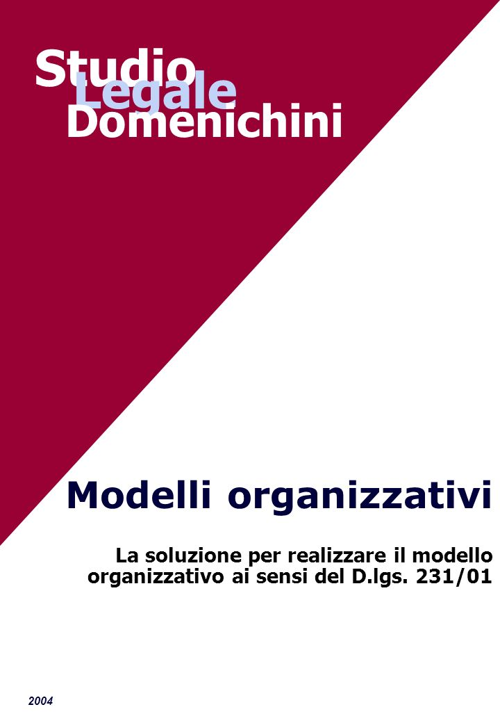 2004 Modelli organizzativi La soluzione per realizzare il modello organizzativo ai sensi del D.lgs. 231/01 Studio Legale Domenichini