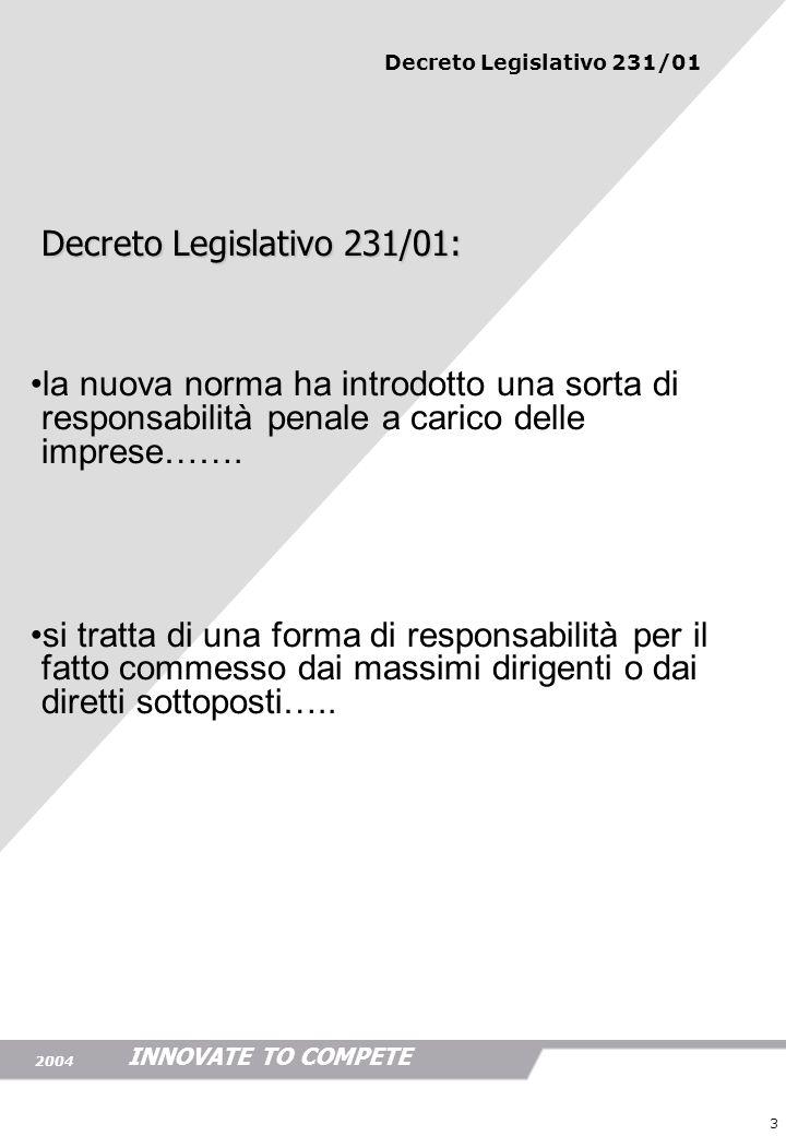 INNOVATE TO COMPETE 2004 3 Decreto Legislativo 231/01: Decreto Legislativo 231/01: la nuova norma ha introdotto una sorta di responsabilità penale a c