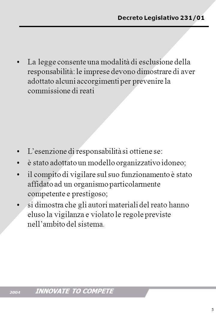 INNOVATE TO COMPETE 2004 5 La legge consente una modalità di esclusione della responsabilità: le imprese devono dimostrare di aver adottato alcuni acc