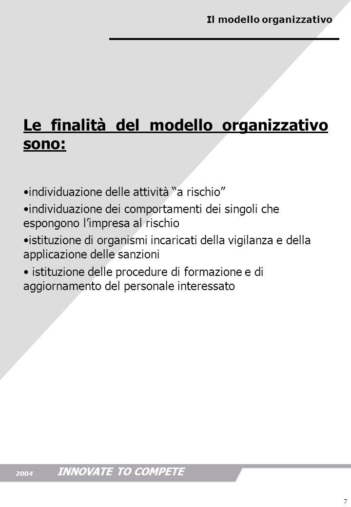 INNOVATE TO COMPETE 2004 7 Le finalità del modello organizzativo sono: individuazione delle attività a rischio individuazione dei comportamenti dei si