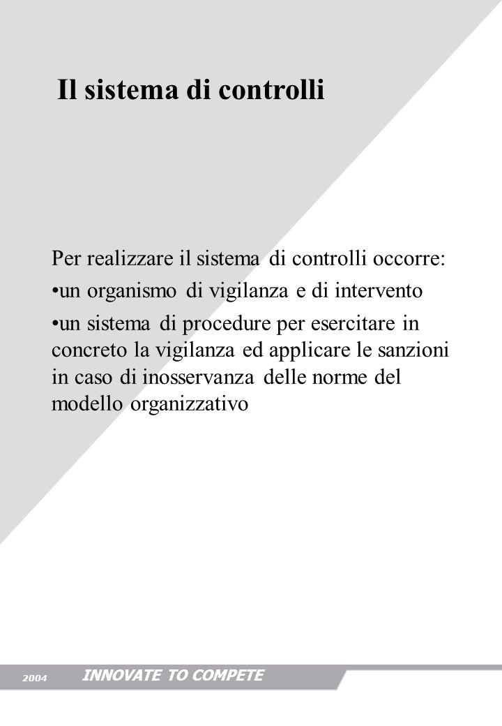 INNOVATE TO COMPETE 2004 Lorganismo di controllo deve essere caratterizzato da: indipendenza gerarchica competenza professionale possibilità di accesso alle informazioni Lorganismo di controllo