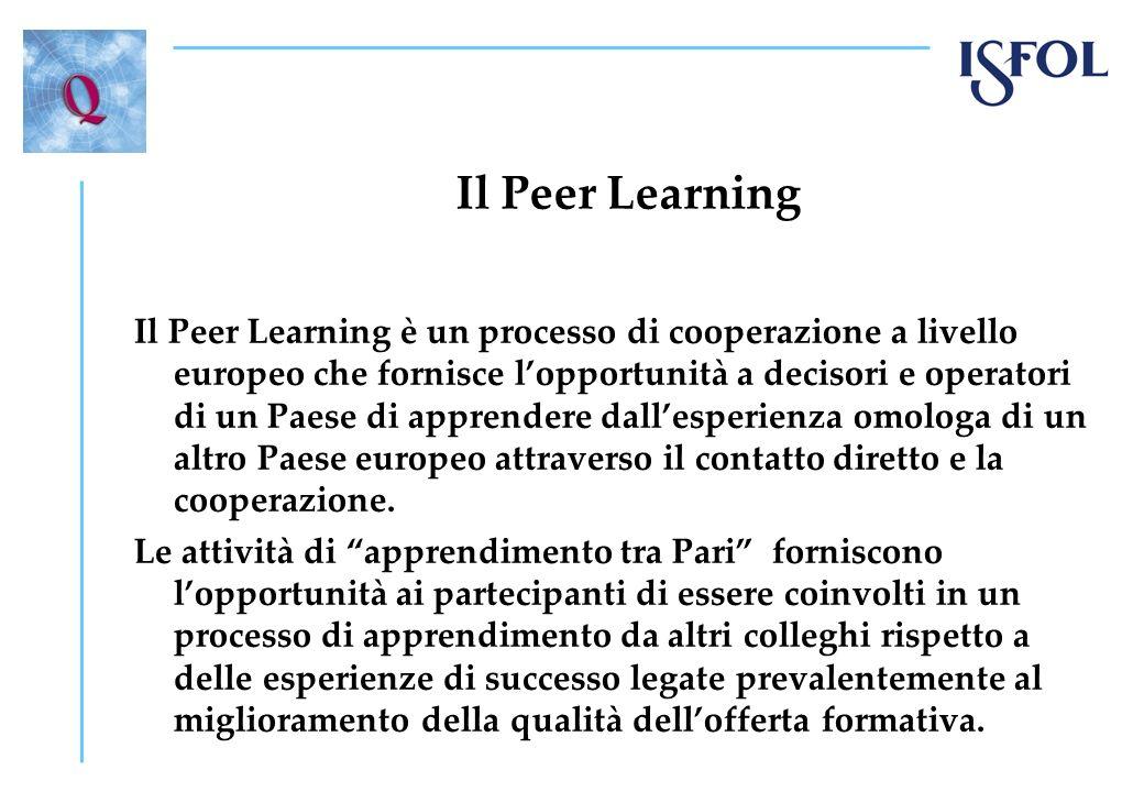 Il Peer Learning Il Peer Learning è un processo di cooperazione a livello europeo che fornisce lopportunità a decisori e operatori di un Paese di appr
