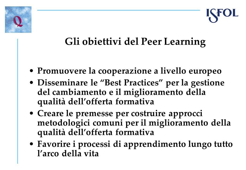 Gli obiettivi del Peer Learning Promuovere la cooperazione a livello europeo Disseminare le Best Practices per la gestione del cambiamento e il miglio