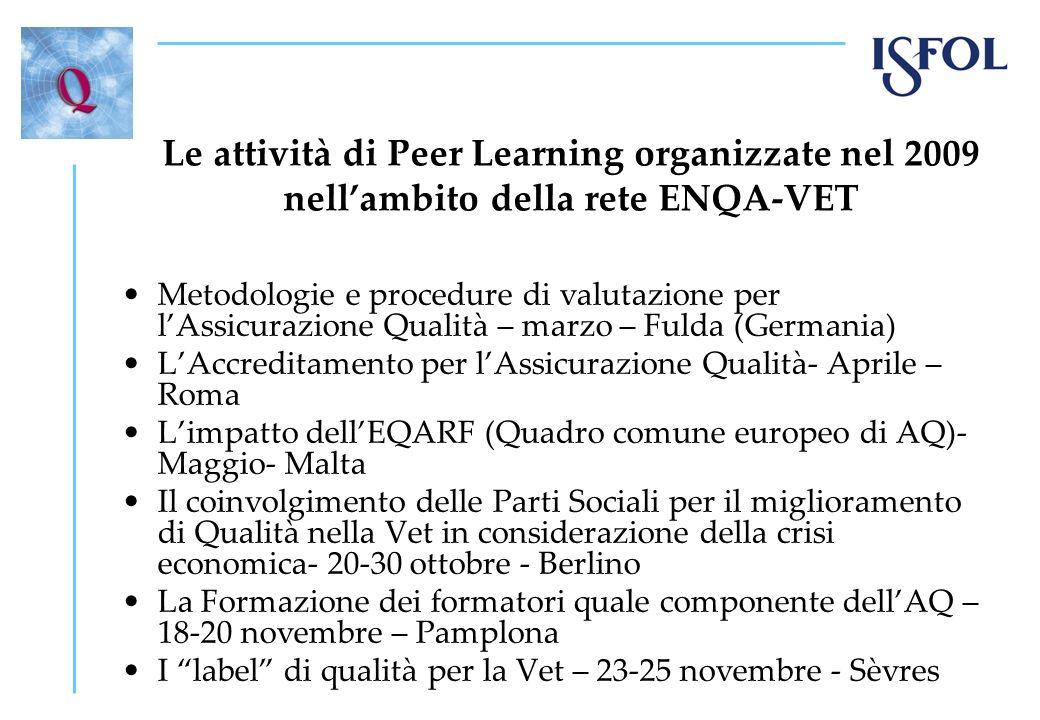 Le attività di Peer Learning organizzate nel 2009 nellambito della rete ENQA-VET Metodologie e procedure di valutazione per lAssicurazione Qualità – m