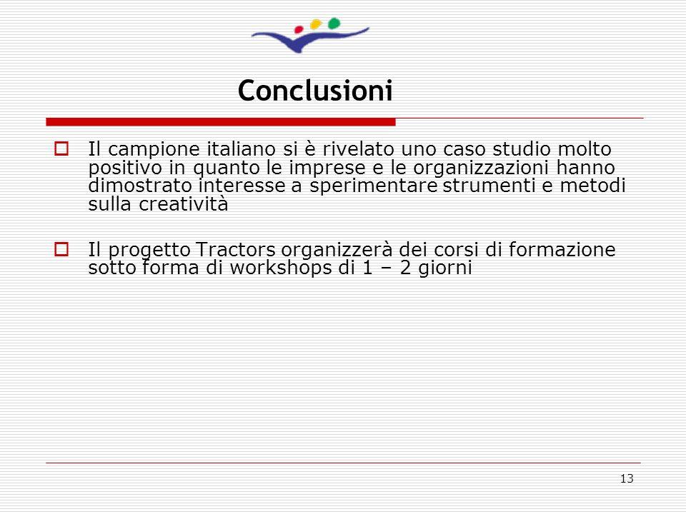 13 Conclusioni Il campione italiano si è rivelato uno caso studio molto positivo in quanto le imprese e le organizzazioni hanno dimostrato interesse a
