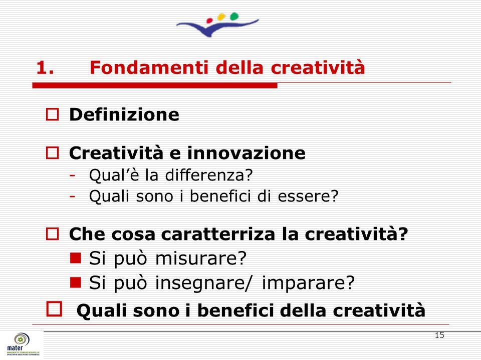 15 1. Fondamenti della creatività Definizione Creatività e innovazione -Qualè la differenza? -Quali sono i benefici di essere? Che cosa caratterriza l