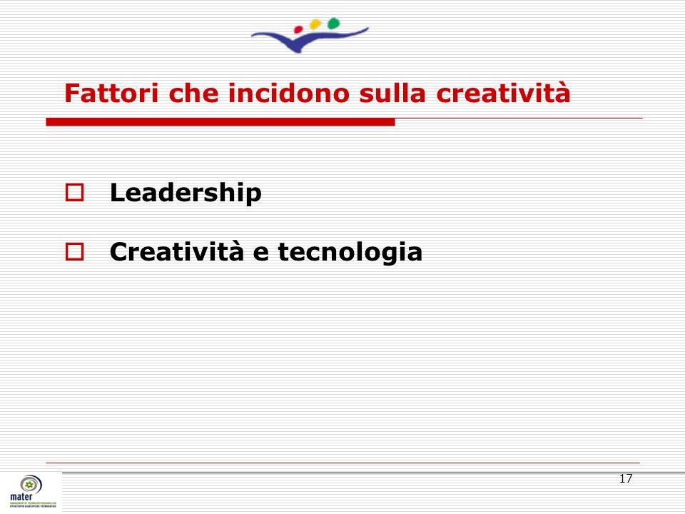 17 Leadership Creatività e tecnologia Fattori che incidono sulla creatività