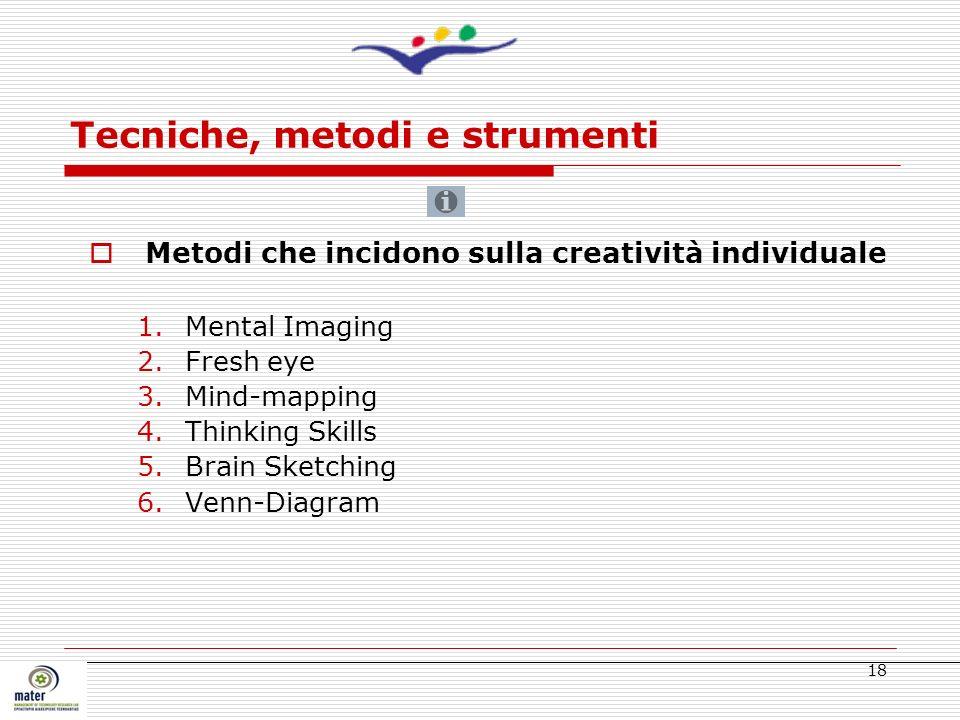 18 Tecniche, metodi e strumenti Metodi che incidono sulla creatività individuale 1.Mental Imaging 2.Fresh eye 3.Mind-mapping 4.Thinking Skills 5.Brain