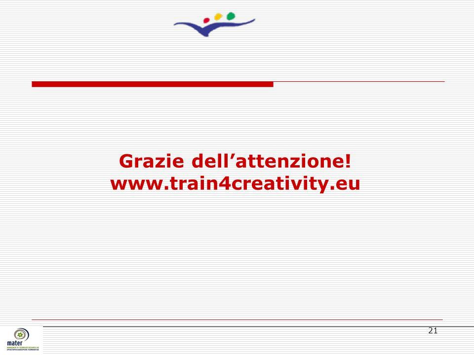 21 Grazie dellattenzione! www.train4creativity.eu