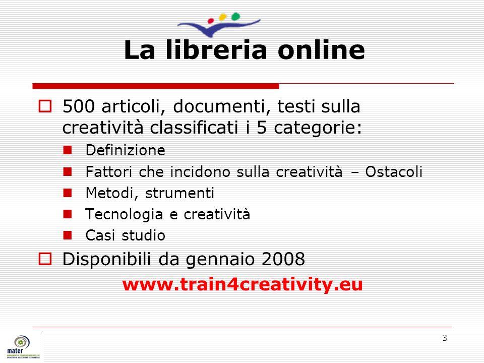 3 500 articoli, documenti, testi sulla creatività classificati i 5 categorie: Definizione Fattori che incidono sulla creatività – Ostacoli Metodi, str