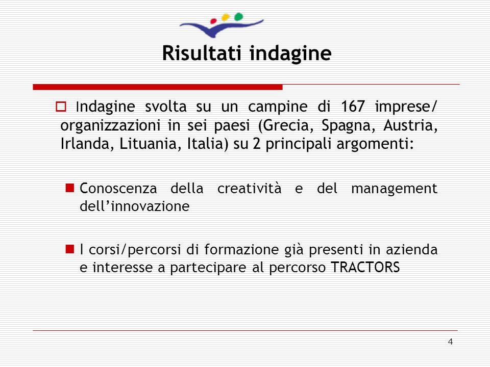 4 Risultati indagine I ndagine svolta su un campine di 167 imprese/ organizzazioni in sei paesi (Grecia, Spagna, Austria, Irlanda, Lituania, Italia) s
