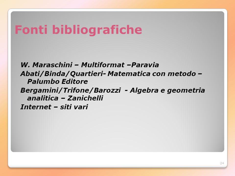 24 Fonti bibliografiche W. Maraschini – Multiformat –Paravia Abati/Binda/Quartieri- Matematica con metodo – Palumbo Editore Bergamini/Trifone/Barozzi