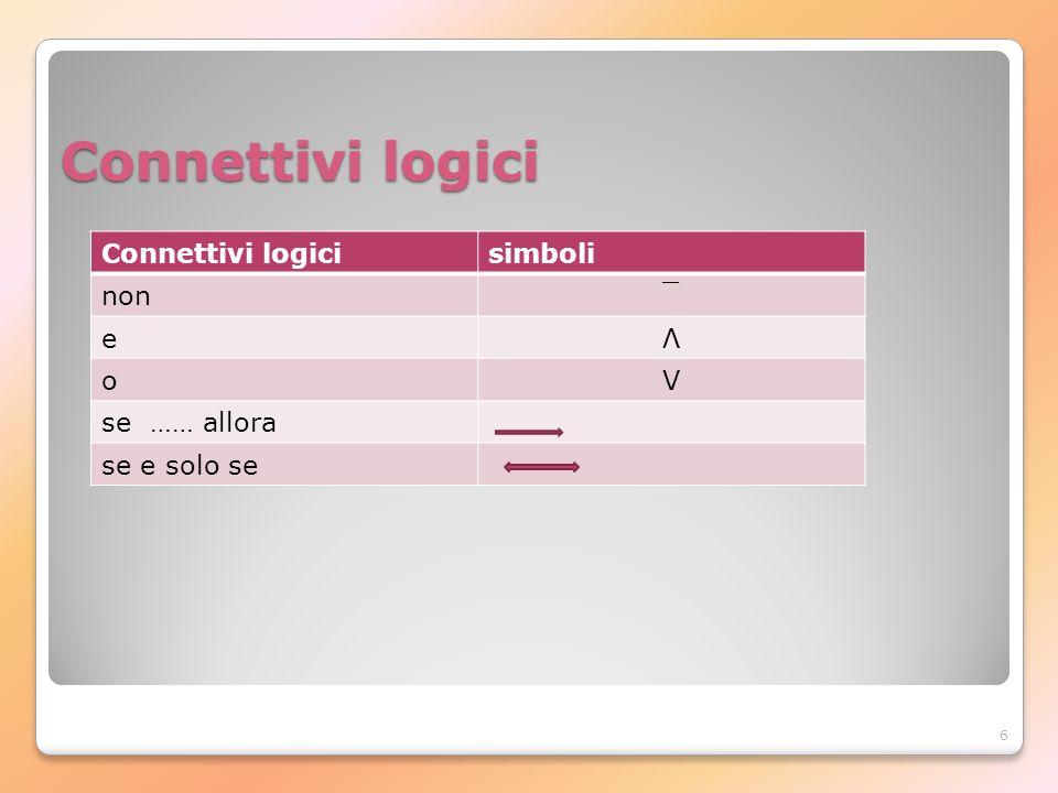 6 Connettivi logici simboli non¯ eΛ o V se …… allora se e solo se