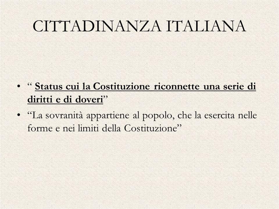 CITTADINANZA ITALIANA Status cui la Costituzione riconnette una serie di diritti e di doveri La sovranità appartiene al popolo, che la esercita nelle