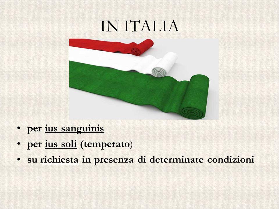 IN ITALIA per ius sanguinis per ius soli (temperato) su richiesta in presenza di determinate condizioni
