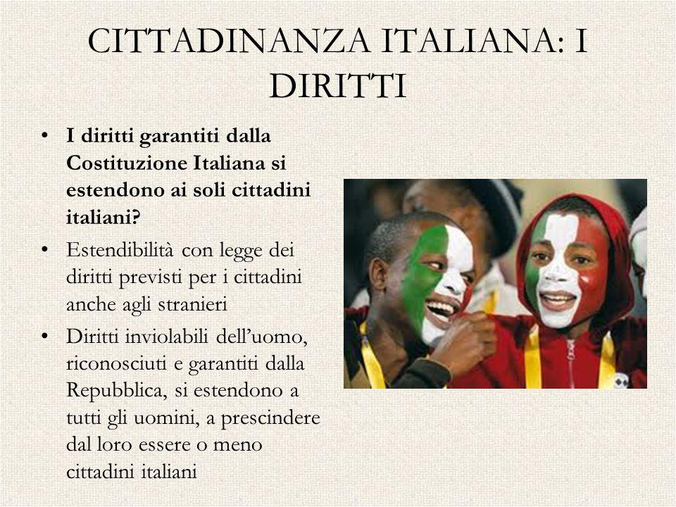 CITTADINANZA ITALIANA: I DIRITTI I diritti garantiti dalla Costituzione Italiana si estendono ai soli cittadini italiani? Estendibilità con legge dei