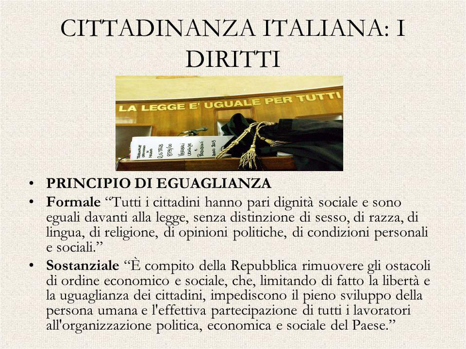 CITTADINANZA ITALIANA: I DIRITTI PRINCIPIO DI EGUAGLIANZA Formale Tutti i cittadini hanno pari dignità sociale e sono eguali davanti alla legge, senza