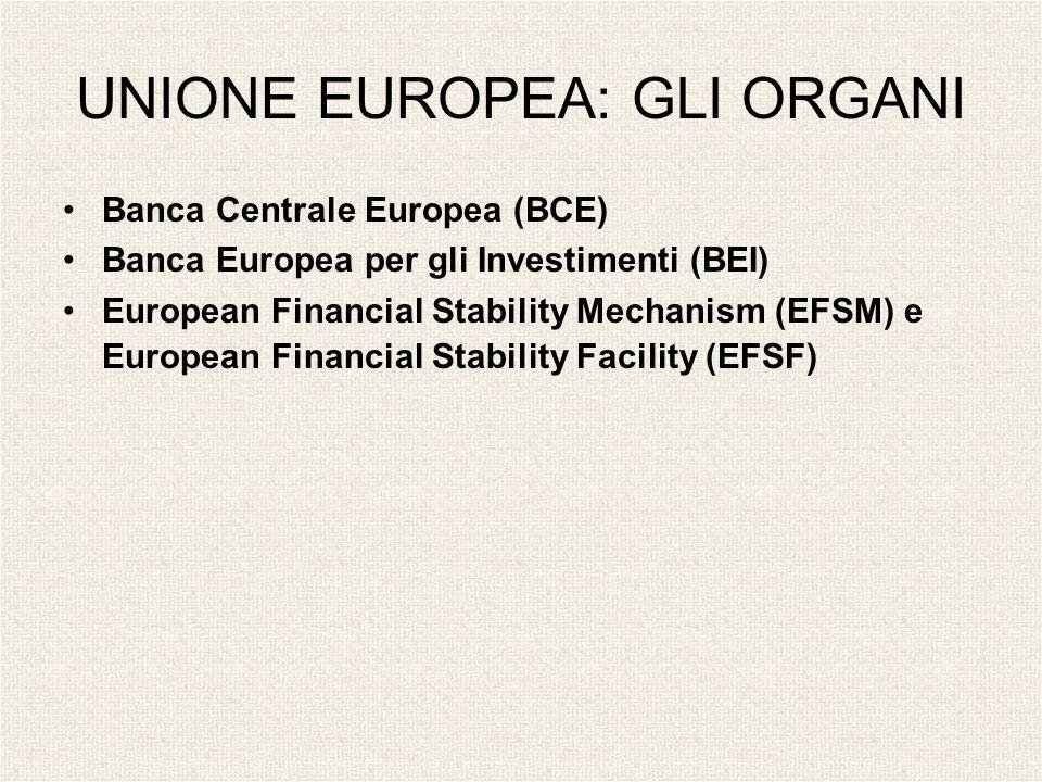 UNIONE EUROPEA: GLI ORGANI Banca Centrale Europea (BCE) Banca Europea per gli Investimenti (BEI) European Financial Stability Mechanism (EFSM) e Europ