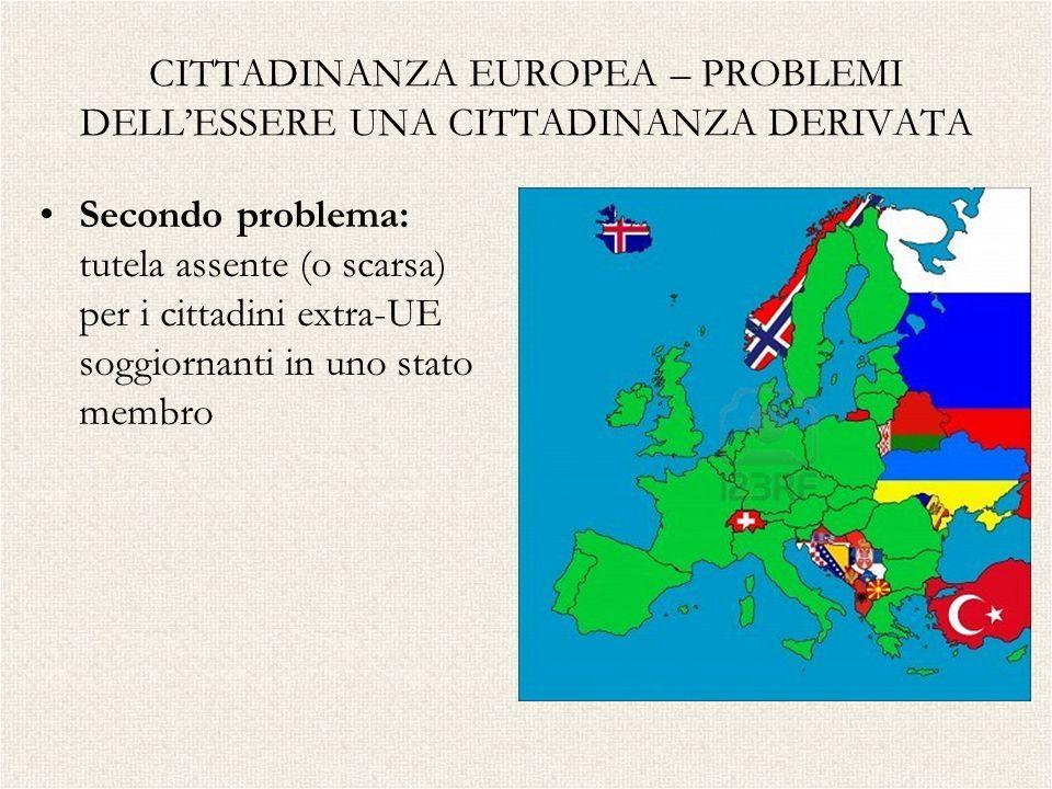 CITTADINANZA EUROPEA – PROBLEMI DELLESSERE UNA CITTADINANZA DERIVATA Secondo problema: tutela assente (o scarsa) per i cittadini extra-UE soggiornanti