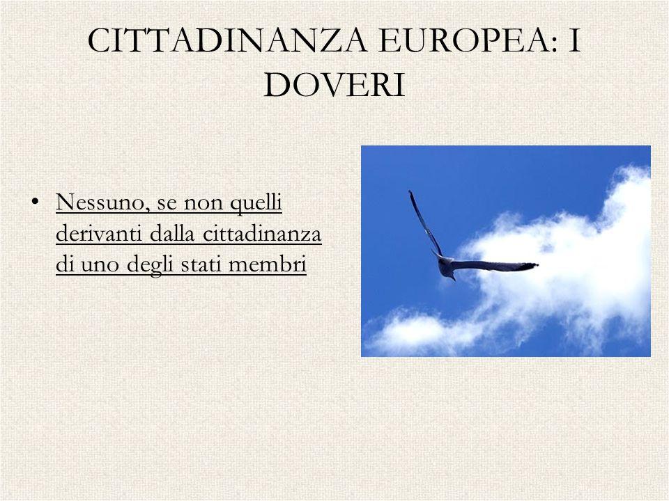 CITTADINANZA EUROPEA: I DOVERI Nessuno, se non quelli derivanti dalla cittadinanza di uno degli stati membri