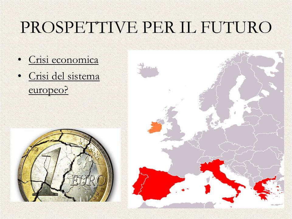 PROSPETTIVE PER IL FUTURO Crisi economica Crisi del sistema europeo?