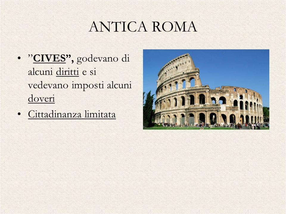 ANTICA ROMA CIVES, godevano di alcuni diritti e si vedevano imposti alcuni doveri Cittadinanza limitata