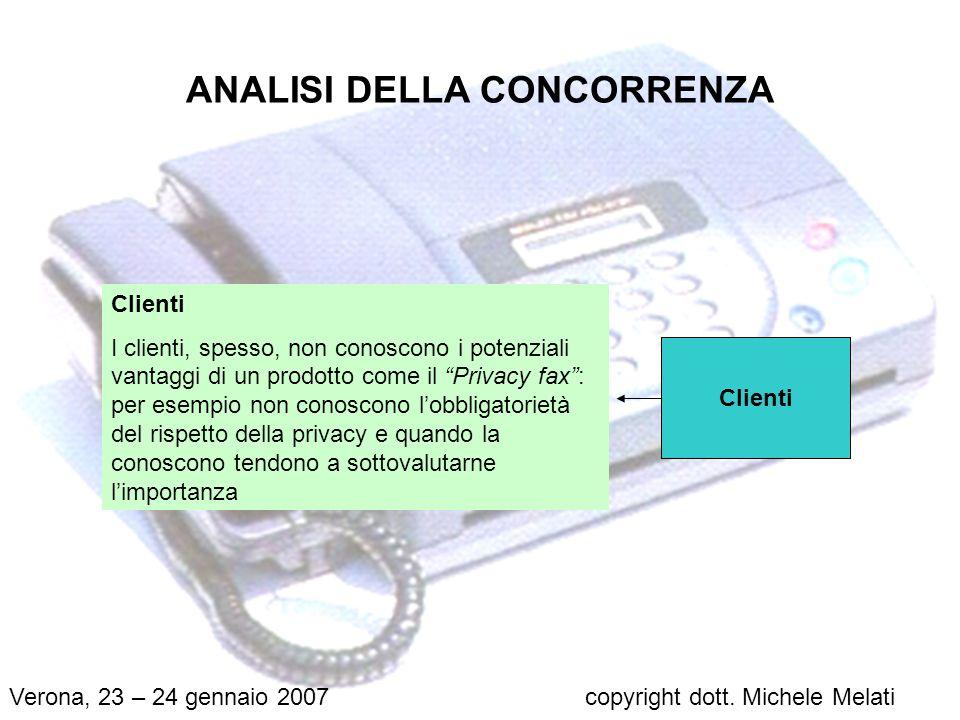 ANALISI DELLA CONCORRENZA Perfetti sostituti Ad oggi non esistono altri prodotti uguali o simili al Privacy fax.
