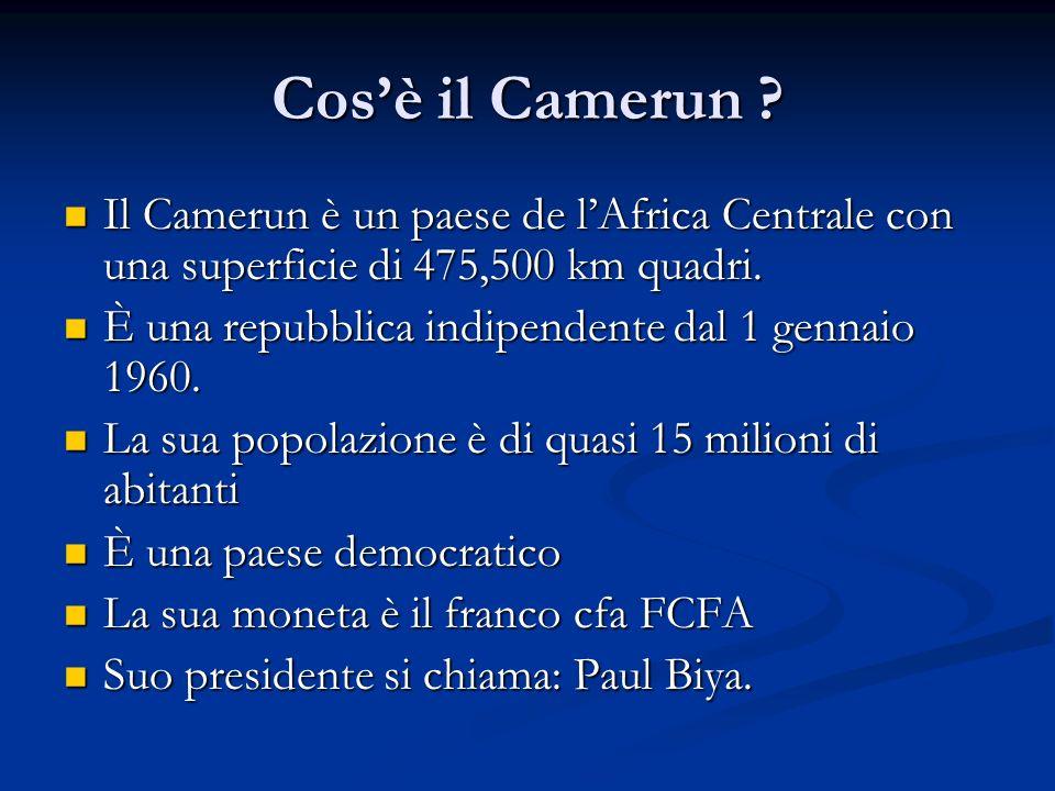 Cosè il Camerun ? Il Camerun è un paese de lAfrica Centrale con una superficie di 475,500 km quadri. Il Camerun è un paese de lAfrica Centrale con una