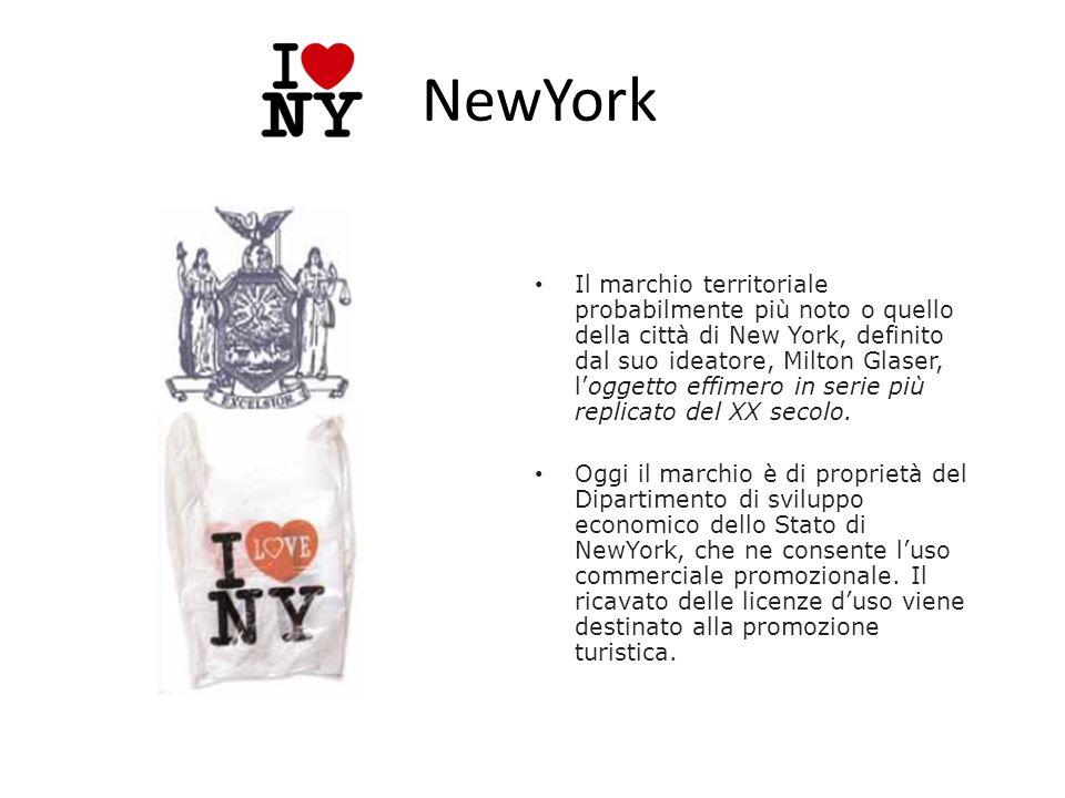NewYork Il marchio territoriale probabilmente più noto o quello della città di New York, definito dal suo ideatore, Milton Glaser, loggetto effimero i