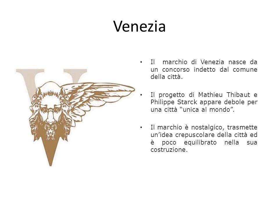 Venezia Il marchio di Venezia nasce da un concorso indetto dal comune della città. Il progetto di Mathieu Thibaut e Philippe Starck appare debole per